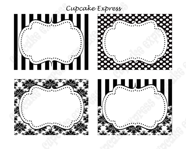 Diy Paris Black & White Damask Stripe Polka Dots Printable Party - Free Printable Damask Place Cards