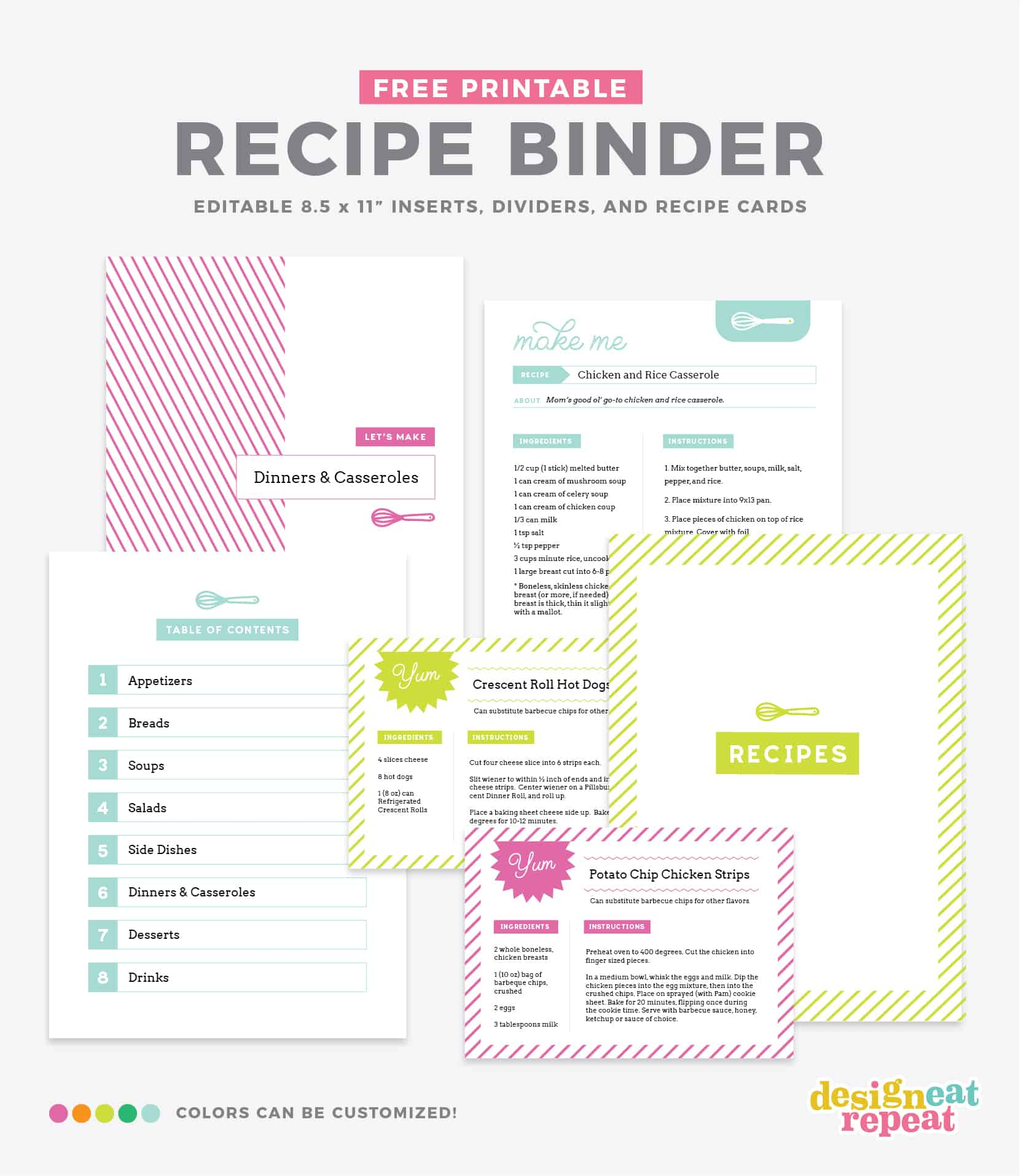 Diy Recipe Book (With Free Printable Recipe Binder Kit!) - Free Printable Recipe Dividers