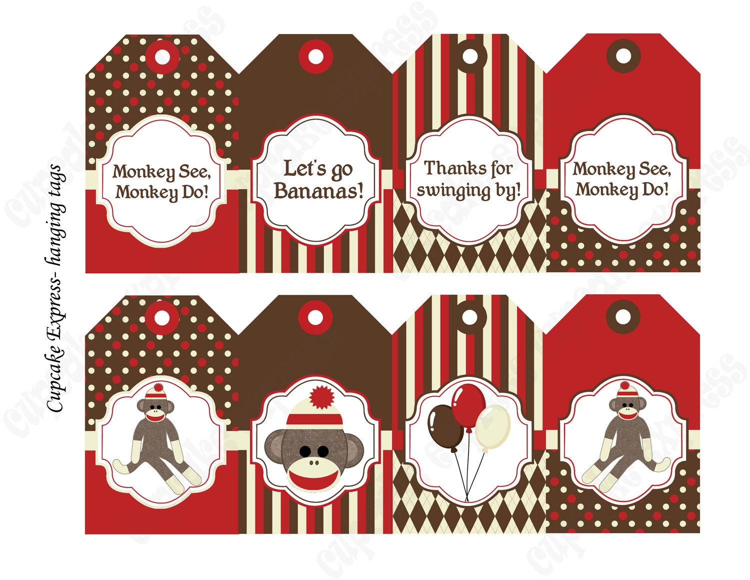 Diy Sock Monkey Red Brown Printable Party Water Bottle Labels Wraps - Free Printable Sock Monkey Pictures