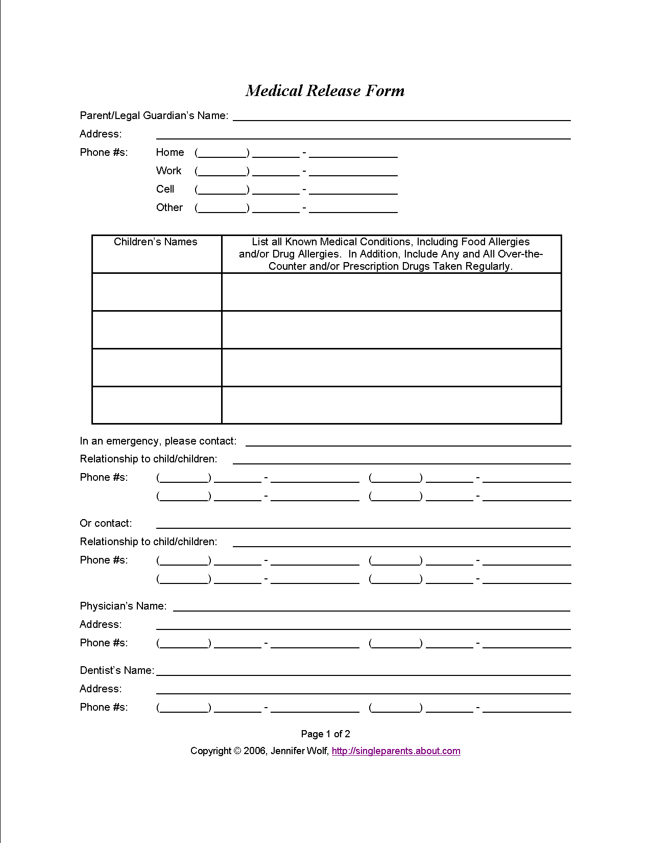 Do You Have A Medical Release Form For Your Kids? | Travel - Free Printable Caregiver Forms