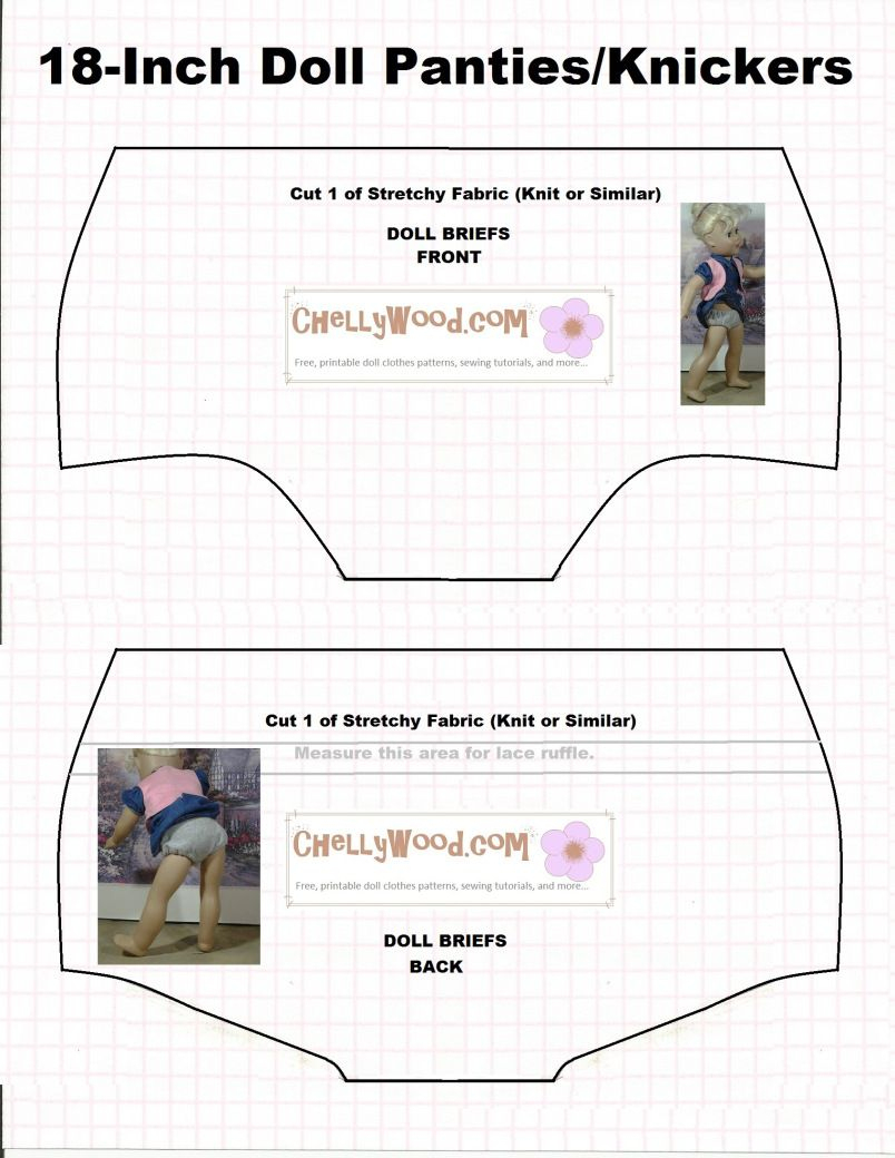 Doll Underwear Pattern (Briefs) To Fit 18 Inch Dolls Like American - American Girl Clothes Patterns Free Printable