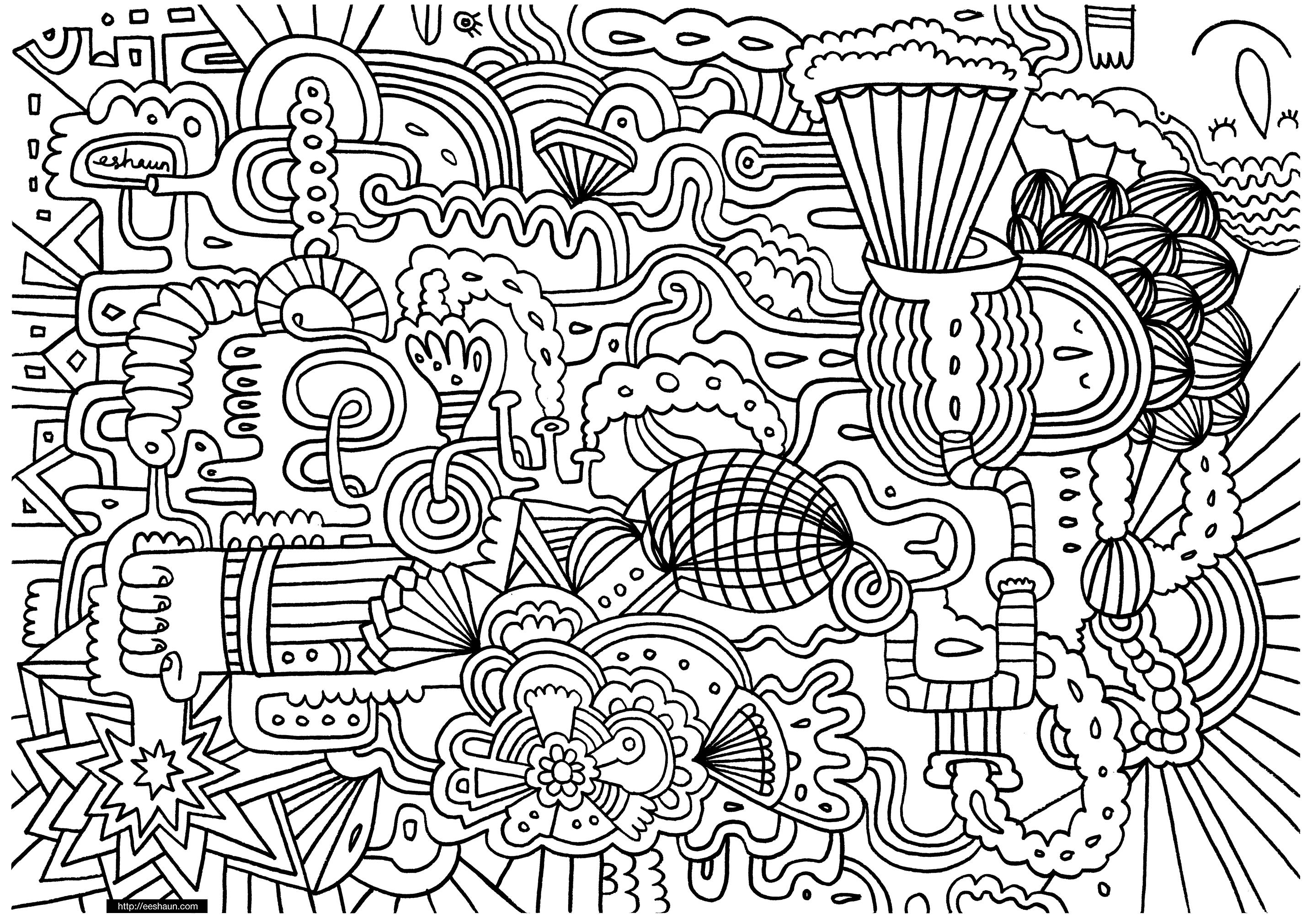 Doodle Art For Children - Doodle Art Kids Coloring Pages - Free Printable Doodle Art Coloring Pages