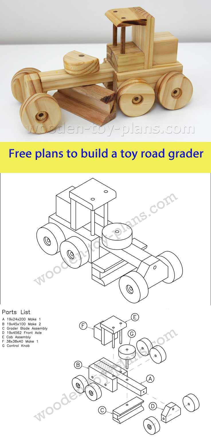 Download Free Printable Plans To Build This Toy Road Grader. Plans - Free Wooden Toy Plans Printable