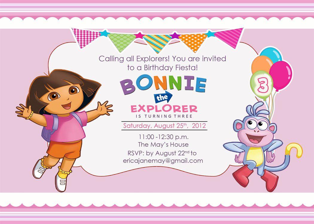 Download Free Template Dora The Explorer Birthday Party Invitations - Dora Birthday Cards Free Printable