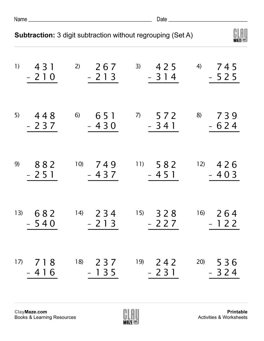 Download Our Free Printable 3 Digit Subtraction Worksheet With No - Free Printable Subtraction Worksheets For 2Nd Grade