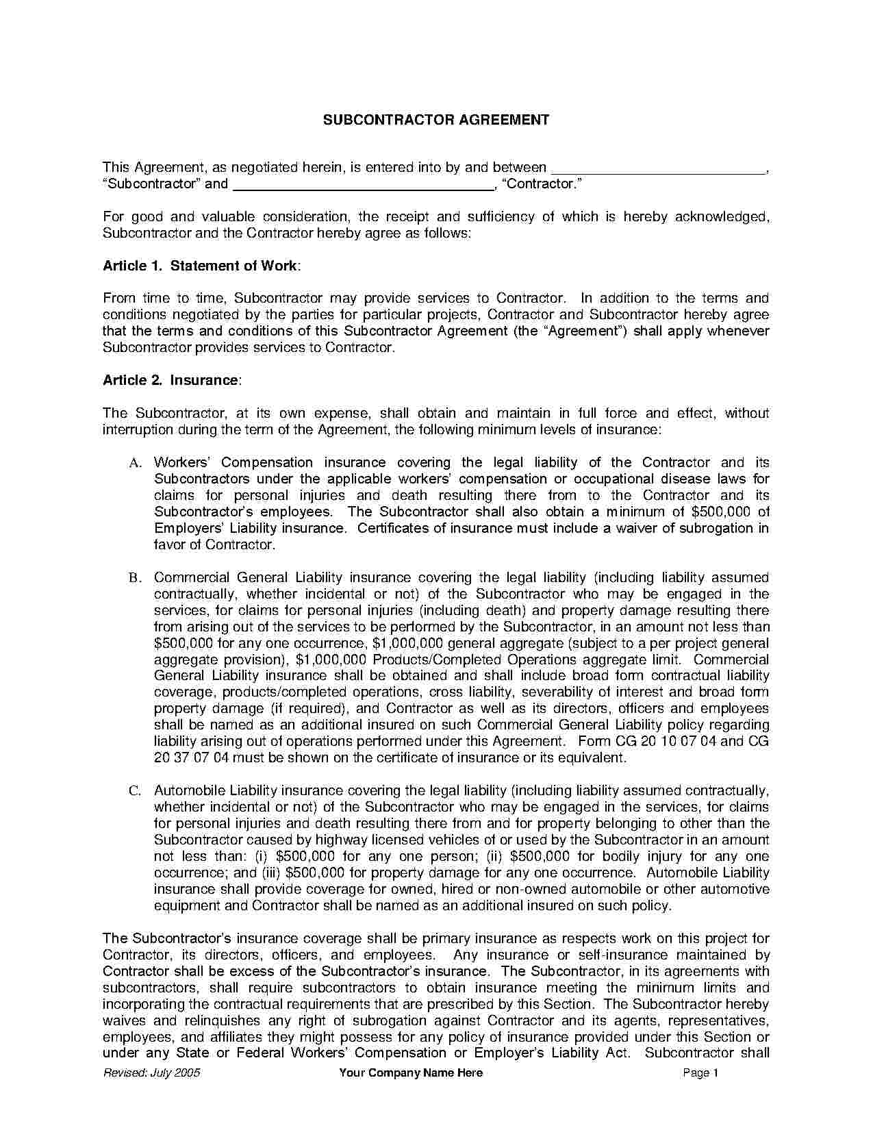 Download Subcontractor Agreement Style 12 Template For Free At - Free Printable Subcontractor Agreement