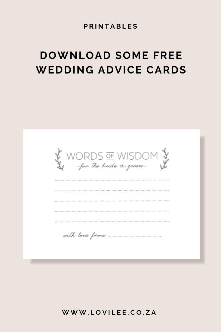 Download Your Free Wedding Advice Cards Printable | Lovilee Blog - Free Printable Bridal Shower Advice Cards
