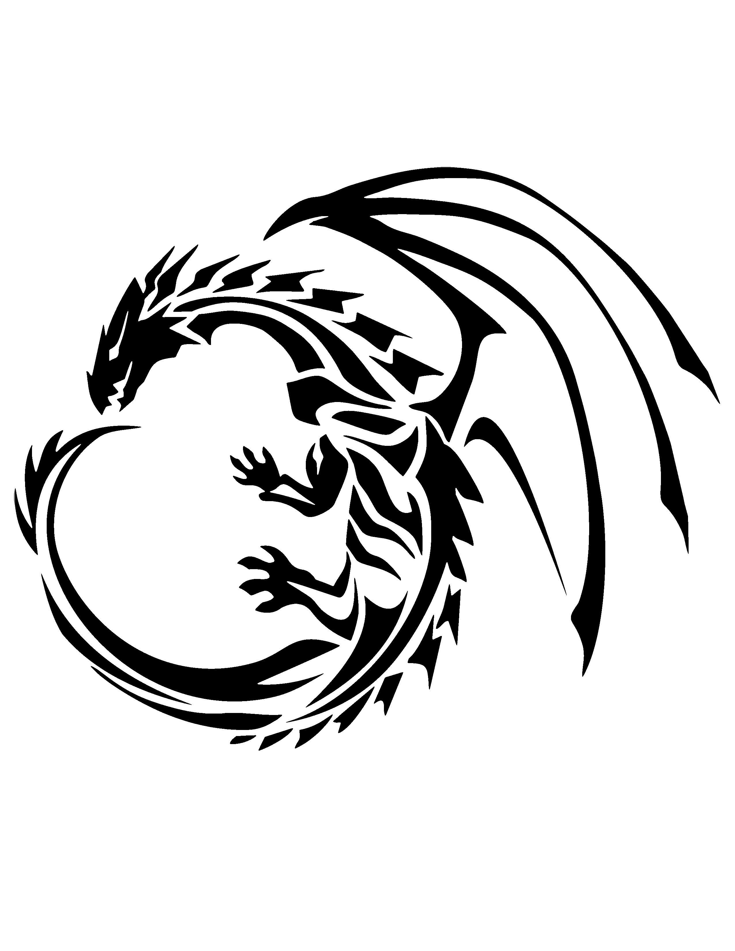 Dragon Stencil | Stencils | Tribal Dragon Tattoos, Chinese Dragon - Free Printable Dragon Stencils