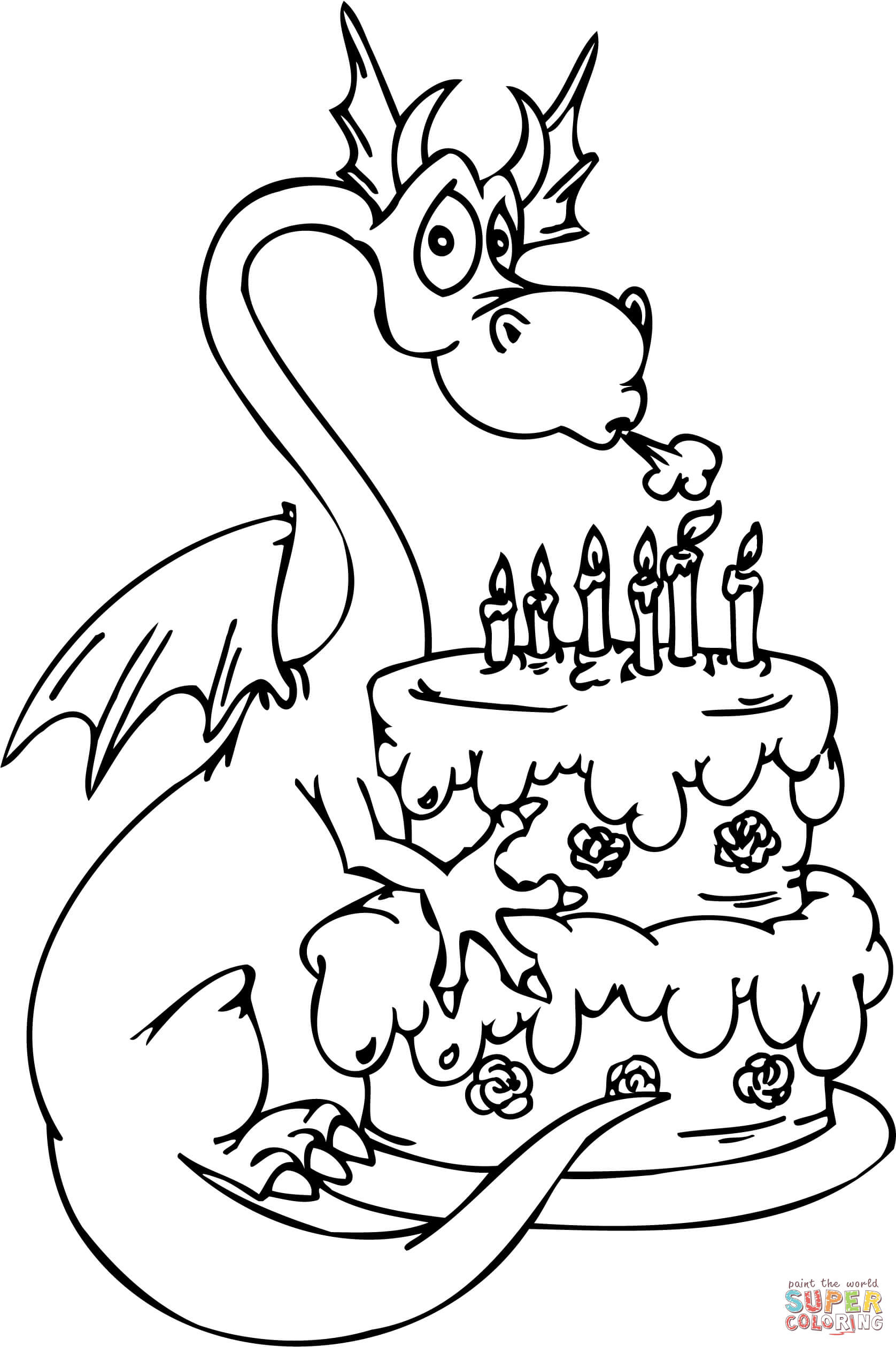 Dragon With Happy Birthday Cake Coloring Page | Free Printable - Free Printable Pictures Of Birthday Cakes