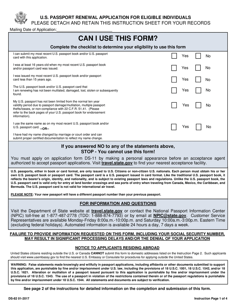 Ds-82 Form 2017 - 2019 - Printable & Fillable Us Passport Renewal - Find Free Printable Forms Online