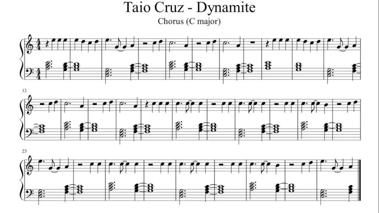 Dynamite - Taio Cruz (Chorus) - Easy Piano Sheet Music   Resin Art - Dynamite Piano Sheet Music Free Printable