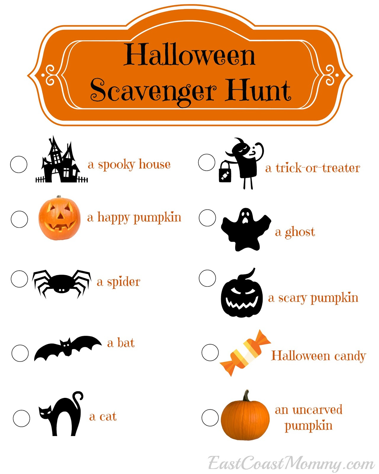East Coast Mommy: Halloween Scavenger Hunt (With Free Printable) - Free Printable Halloween Scavenger Hunt