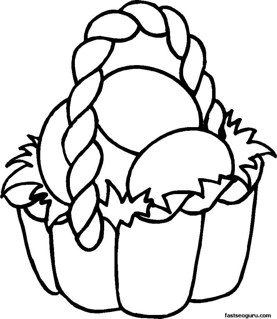 Easter Coloring Pages |  Easter Basket Coloring Pages For Kids - Free Printable Coloring Pages Easter Basket