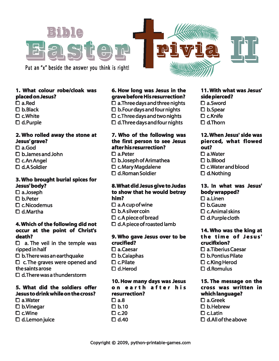Easter Trivia Ii | Games | Easter Printables, Easter Games, Easter - Free Printable Bible Trivia For Adults