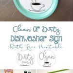 Easy Clean Or Dirty Dishwasher Sign With Free Printable | Diy From   Free Printable Clean Dirty Dishwasher Sign