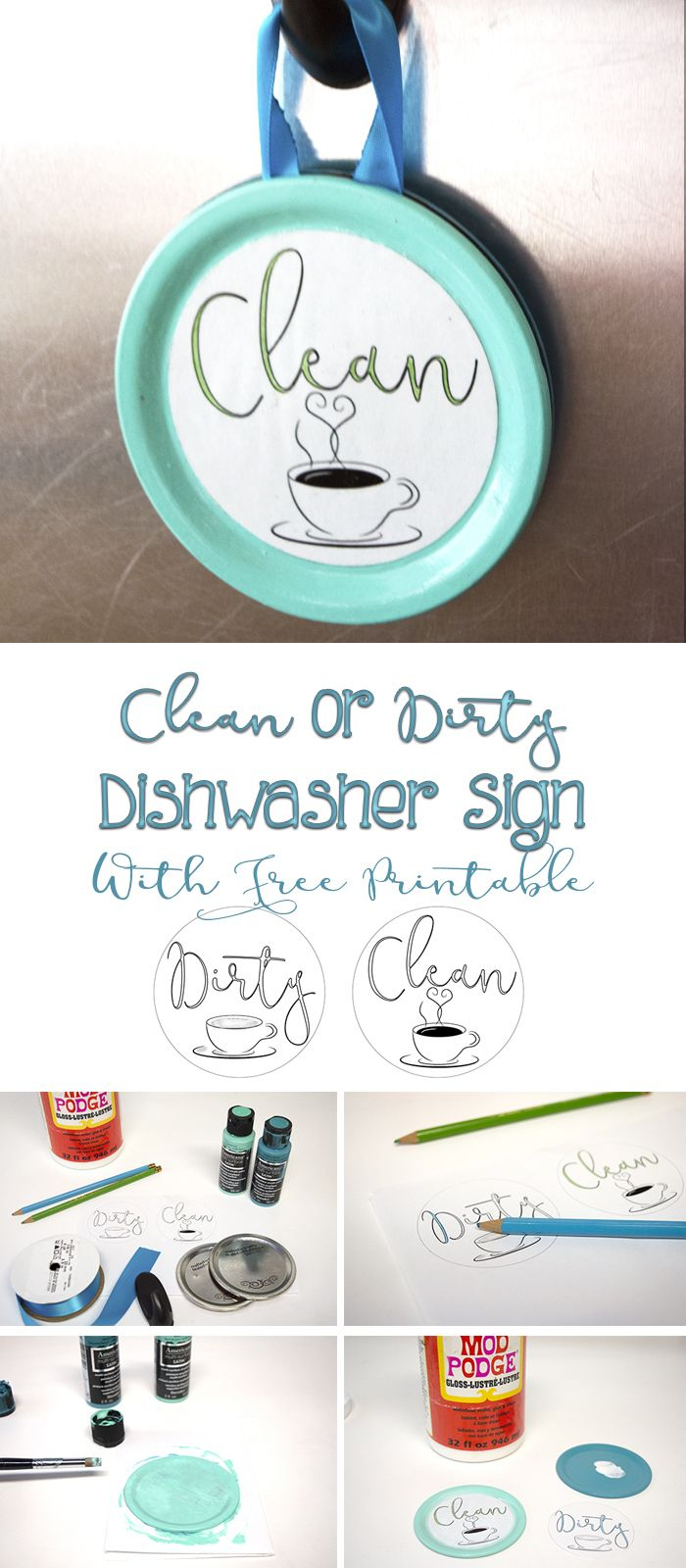 Easy Clean Or Dirty Dishwasher Sign With Free Printable | Diy From - Free Printable Clean Dirty Dishwasher Sign