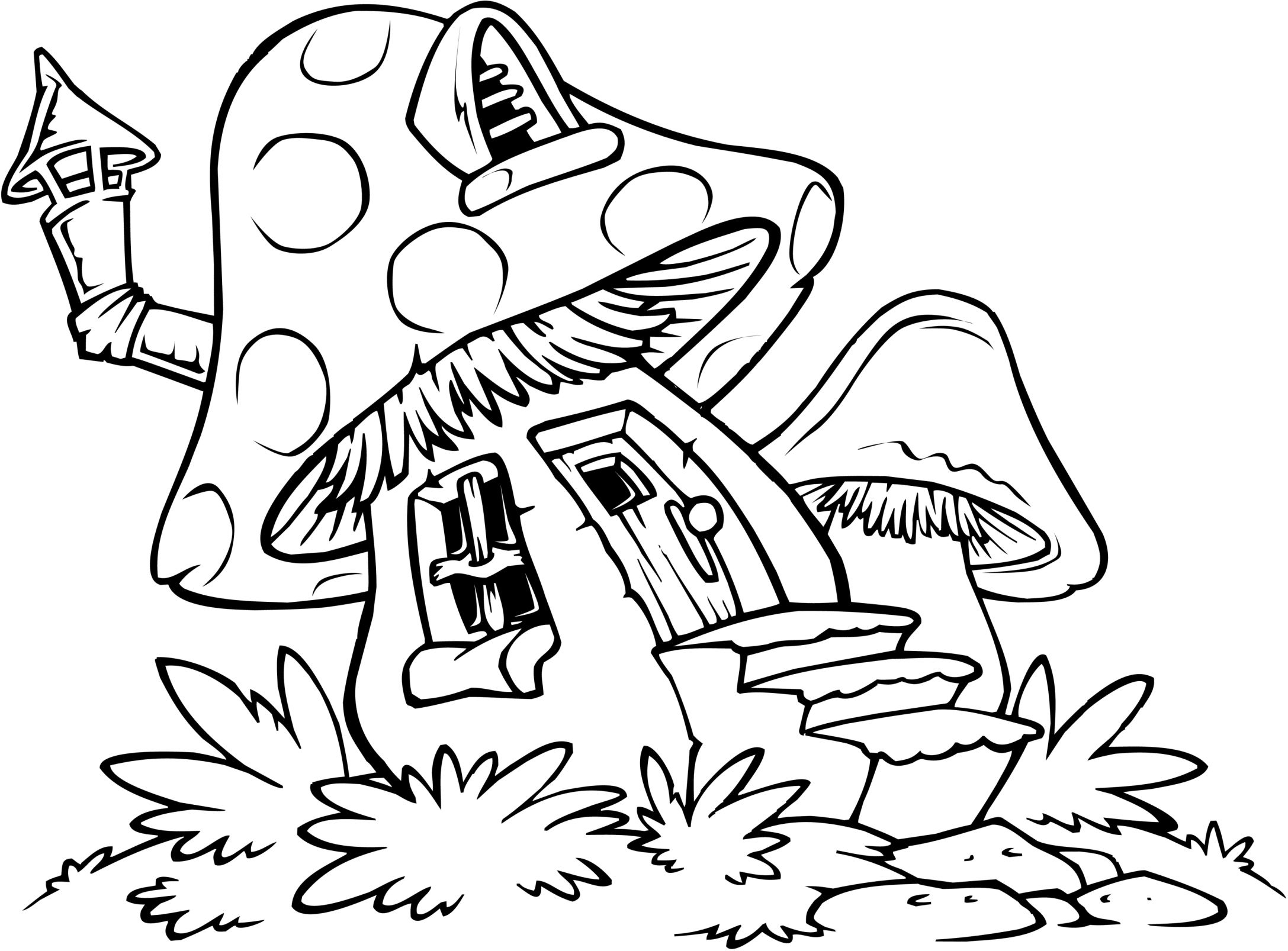 Easy Coloring Pages | Zendoodles For Cards | Pinterest | House - Free Printable Mushroom Coloring Pages