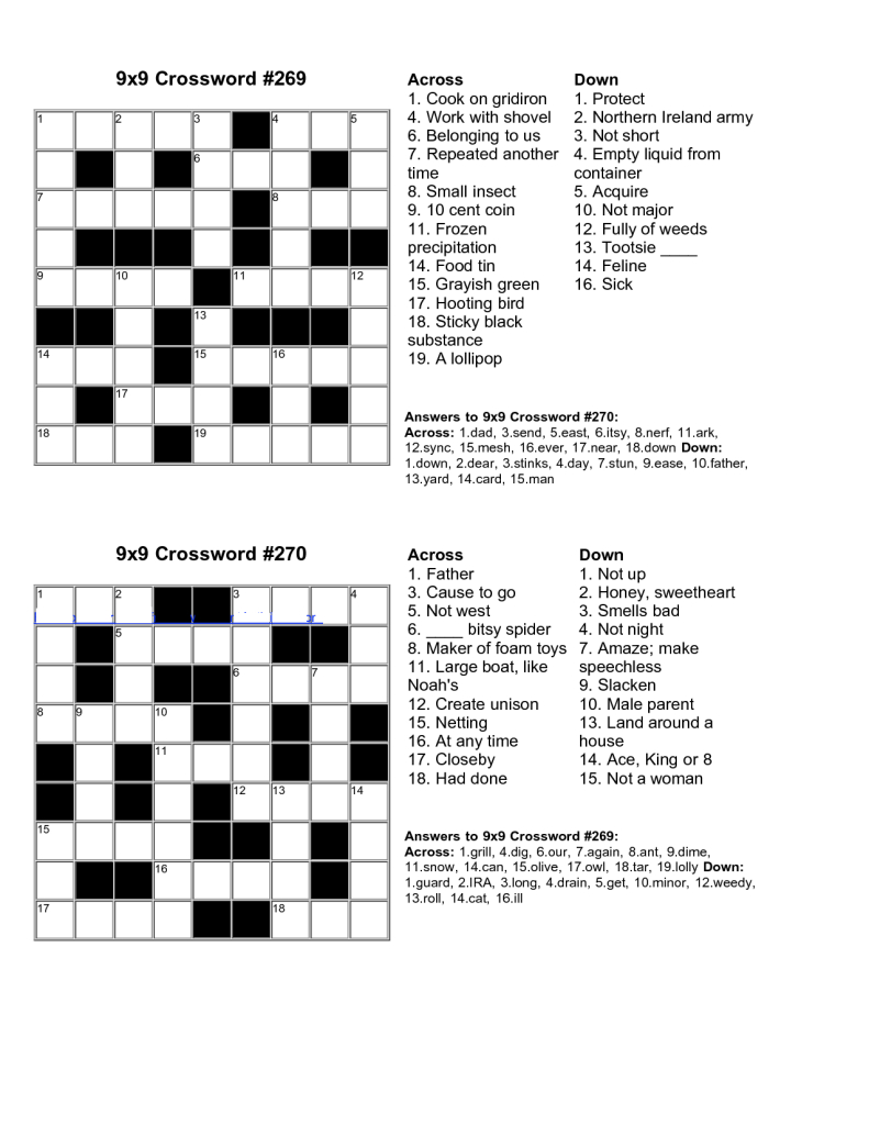 Easy Crossword Puzzles Printable With Answers - 14.12.kaartenstemp.nl • - Free Printable Themed Crossword Puzzles