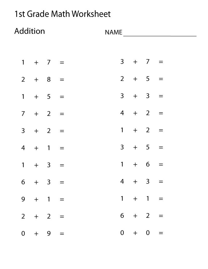 Easy Math Worksheets 1St Grade | Learning Printable | Math - Free Printable Addition Worksheets For 1St Grade