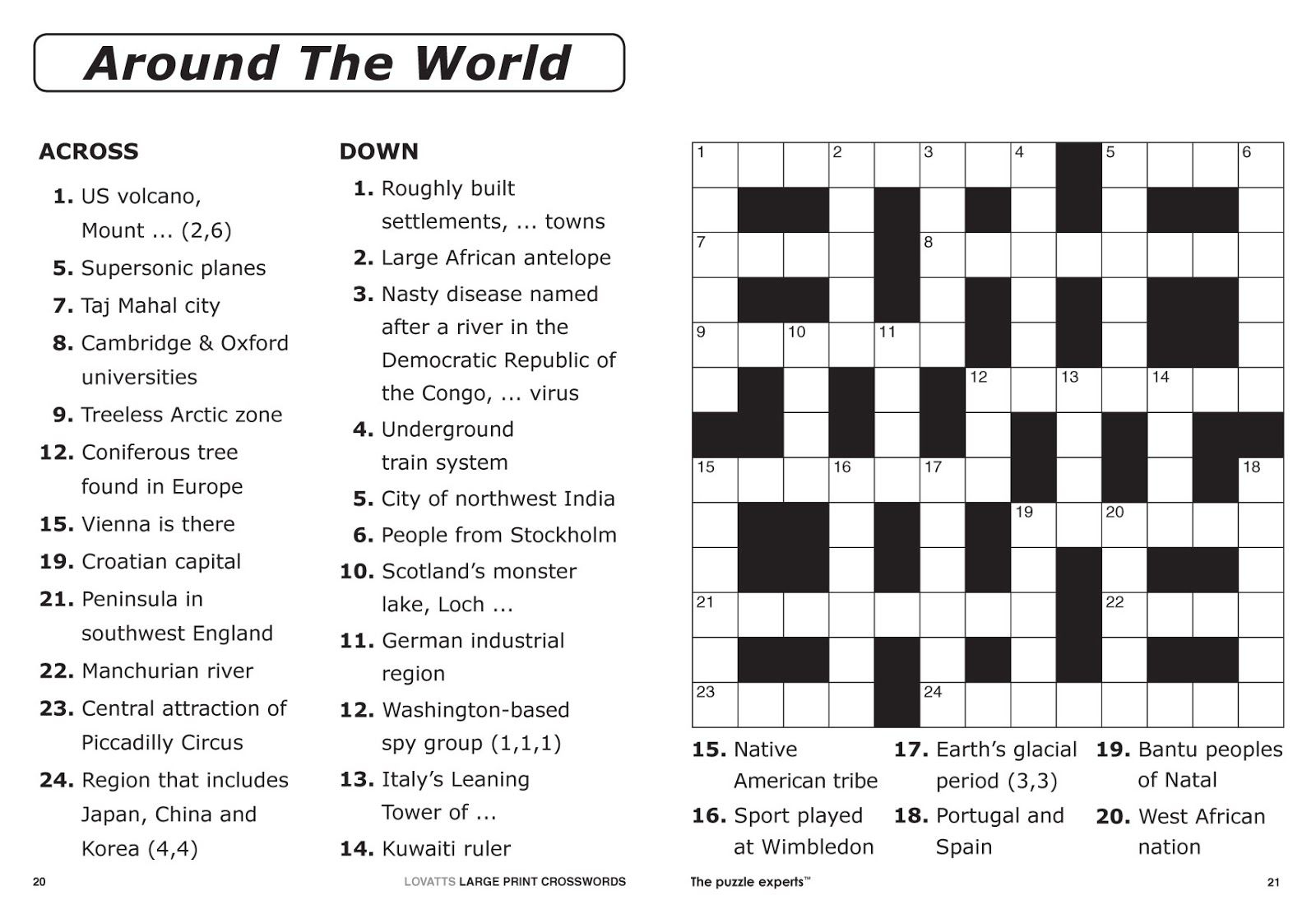 Easy Printable Crossword Puzzles | Elder Care & Dementia Care - Free Large Printable Word Searches