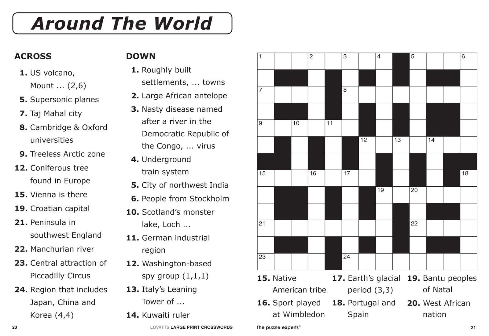 Easy Printable Crossword Puzzles | Elder Care & Dementia Care - Free Printable Crossword Puzzle Maker Download