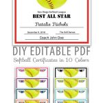 Editable Pdf Sports Team Softball Certificate Award Template In 10   Free Printable Softball Award Certificates
