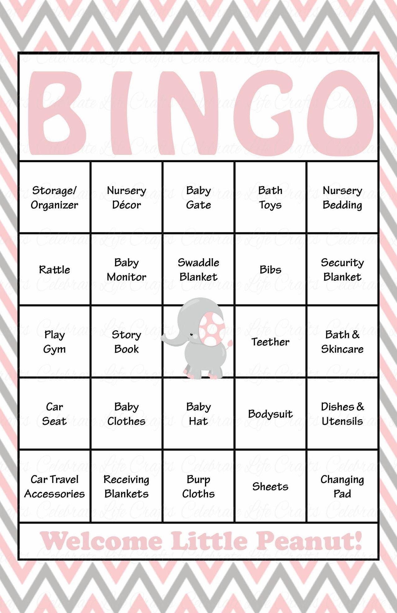 Elephant Baby Bingo Cards - Printable Download - Prefilled - Baby - Free Printable Baby Shower Bingo Cards Pdf