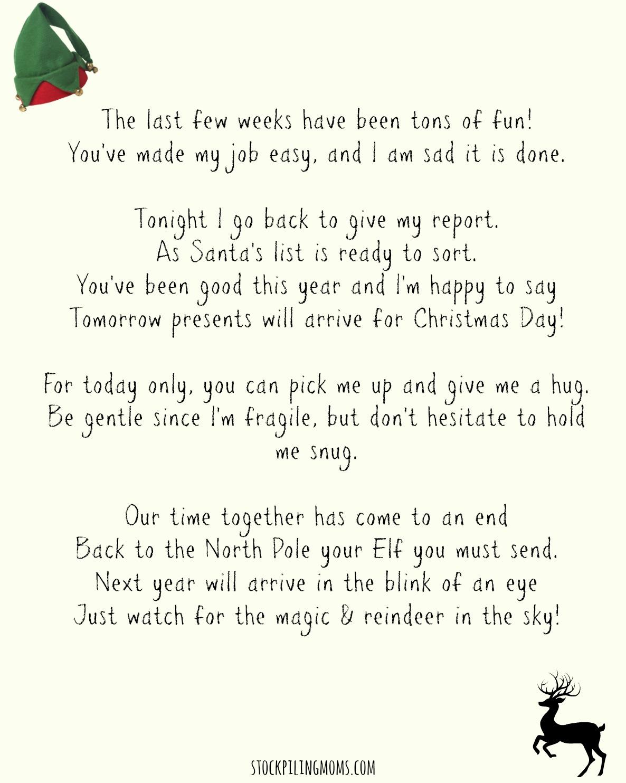 Elf On A Shelf Goodbye Letter Printable - Elf On The Shelf Goodbye Letter Free Printable