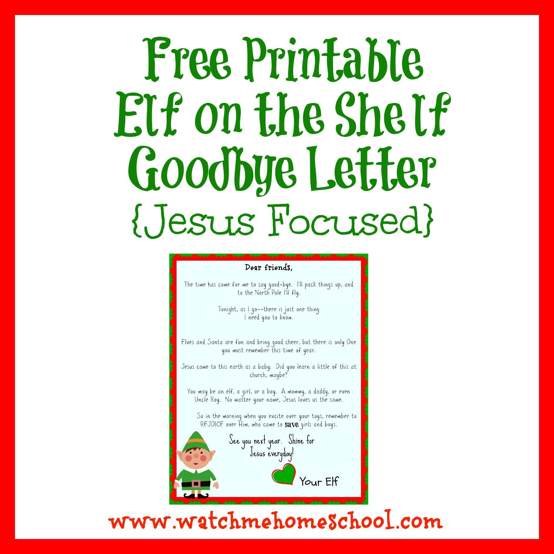 Elf On The Shelf Farewell Letter Printable | Elf On The Shelf - Elf On The Shelf Goodbye Letter Free Printable