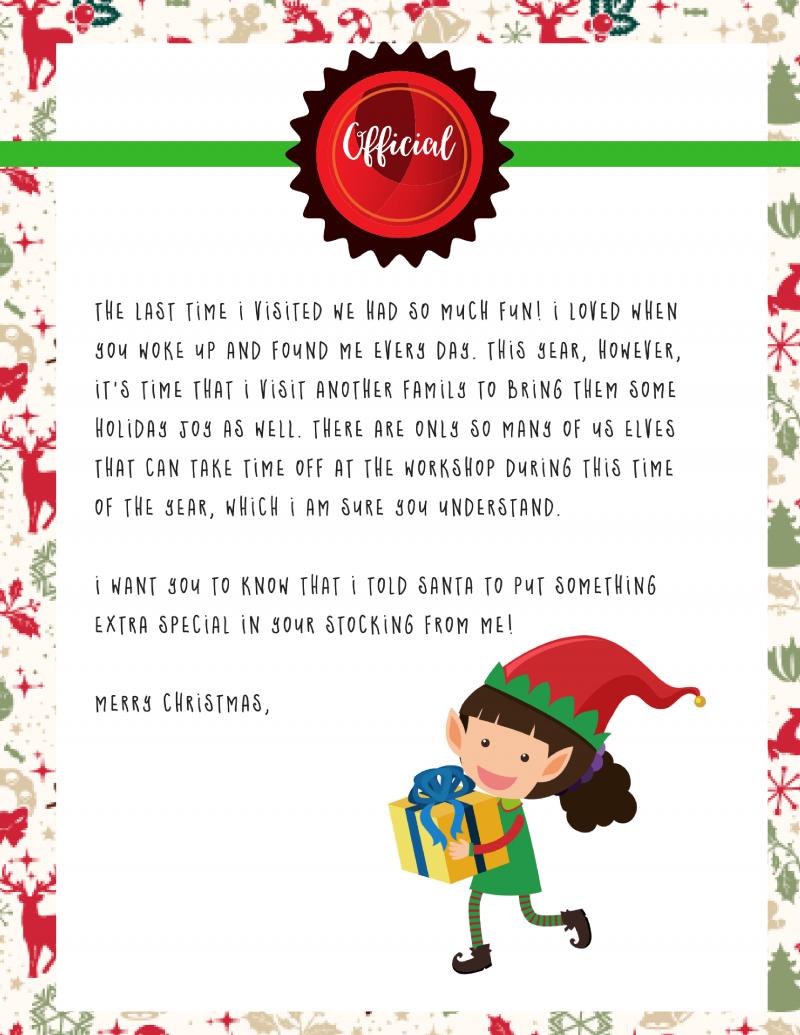 Elf On The Shelf Goodbye Letter : Free Printable - - Elf On The Shelf Goodbye Letter Free Printable