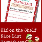 Elf On The Shelf Nice List Certificate Printable   A Grande Life   Good Behaviour Certificates Free Printable