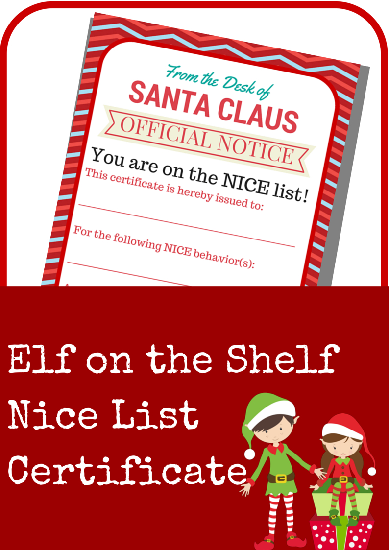 Elf On The Shelf Nice List Certificate Printable - A Grande Life - Good Behaviour Certificates Free Printable