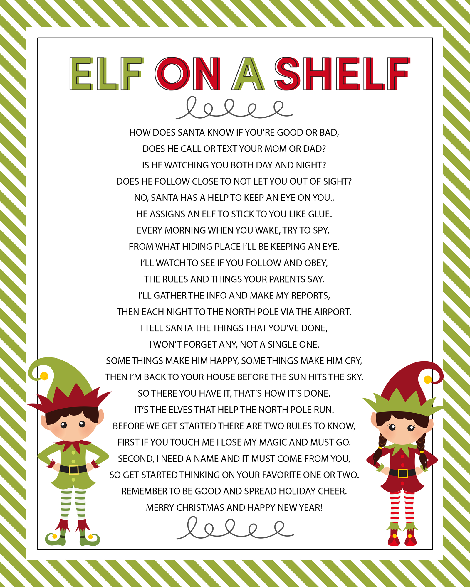 Elf On The Shelf Story - Free Printable Poem | Elf On Shelf Ideas - Free Printable Elf On The Shelf Story