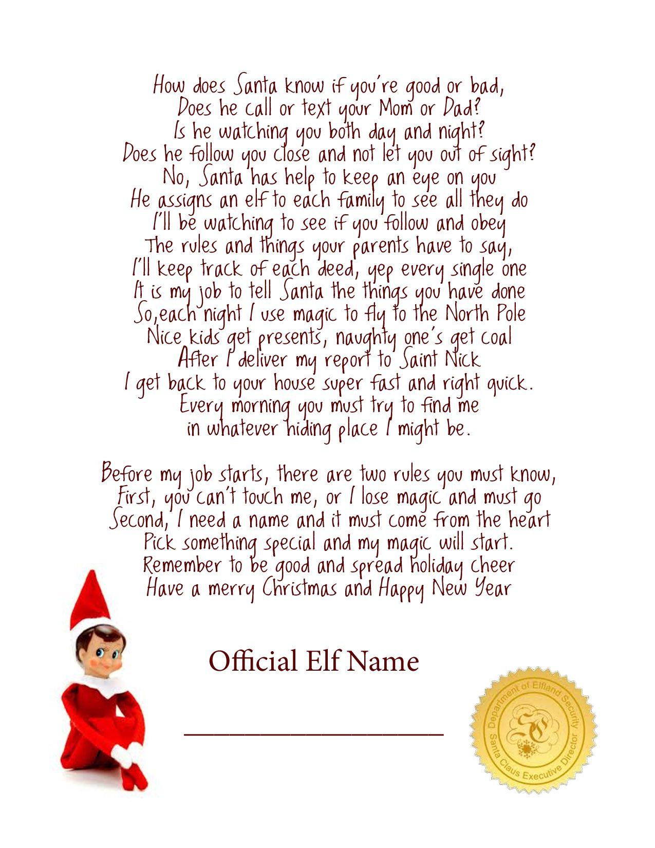 Elf On The Shelf Story - Free Printable Poem | Elf On The Shelf - Free Printable Elf On The Shelf Story