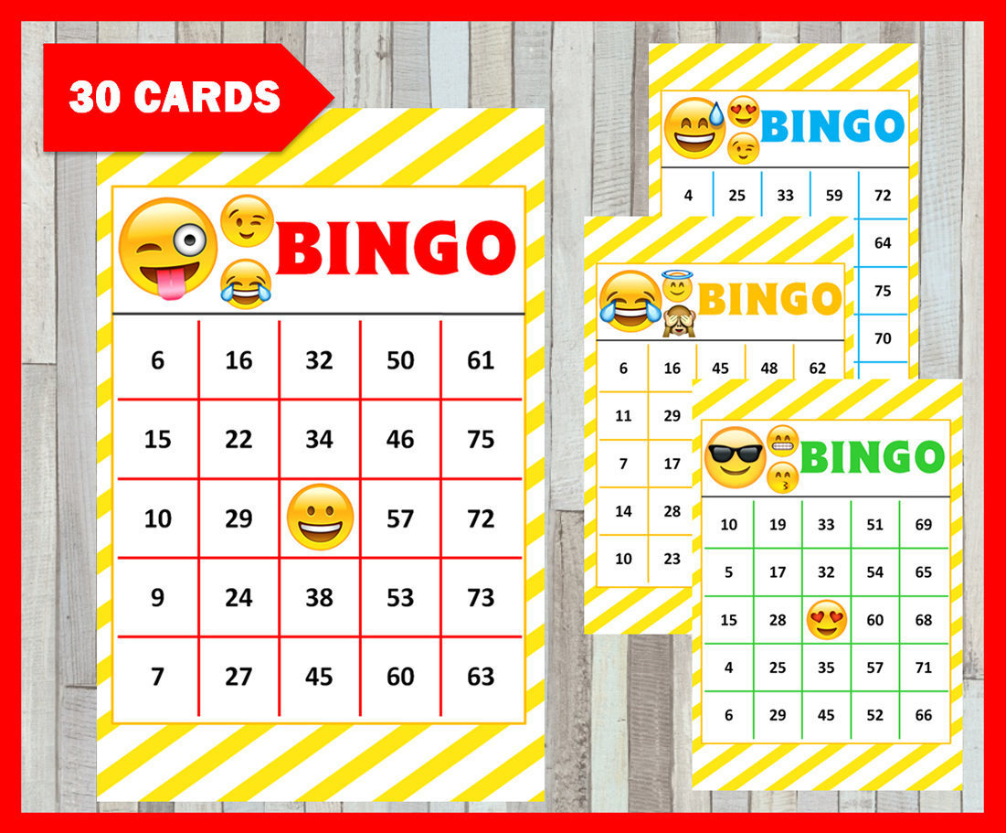 Emoji Bingo Game 30 Cards Emoji Bingo Cards Instant Download | Etsy - Free Emoji Bingo Printable