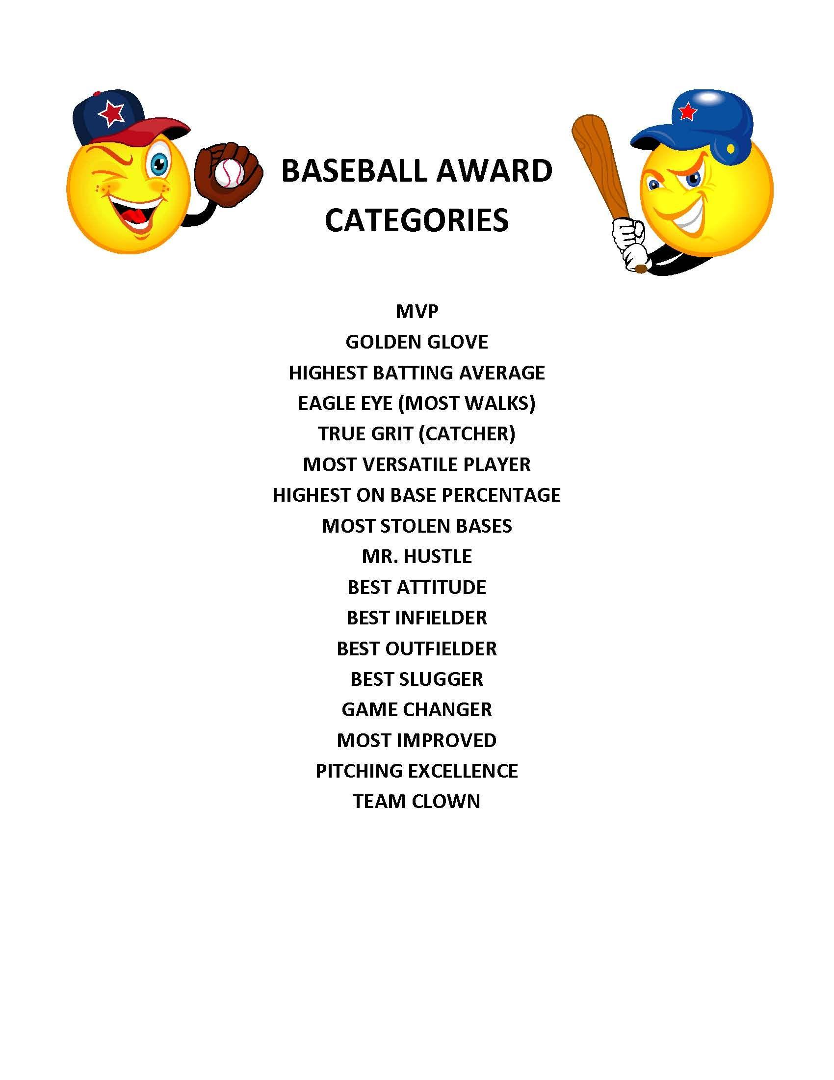 End Of Season Baseball Award Categories | Kid's Baseball Party - Free Printable Baseball Certificates