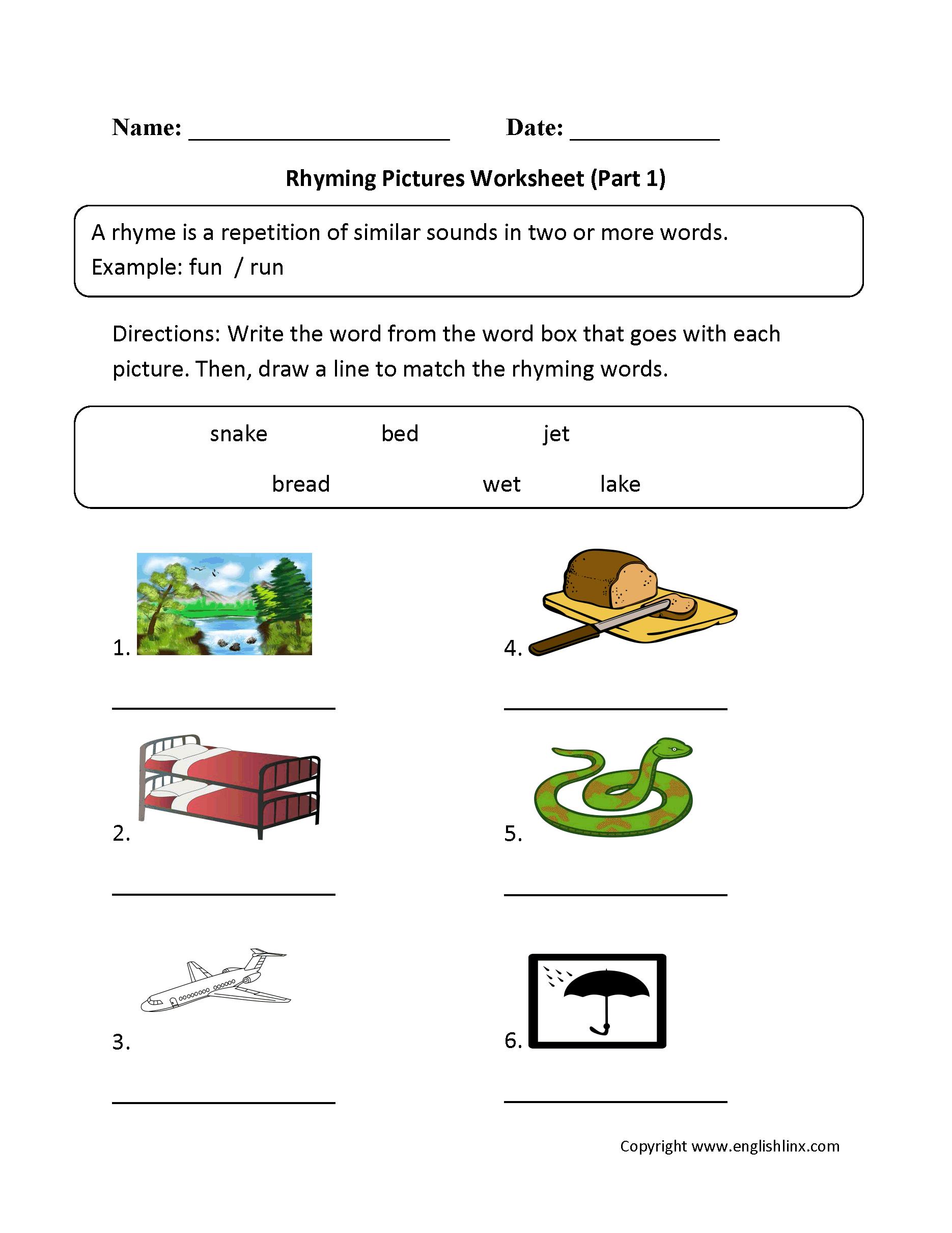 Englishlinx | Rhyming Worksheets - Free Printable Rhyming Words Worksheets