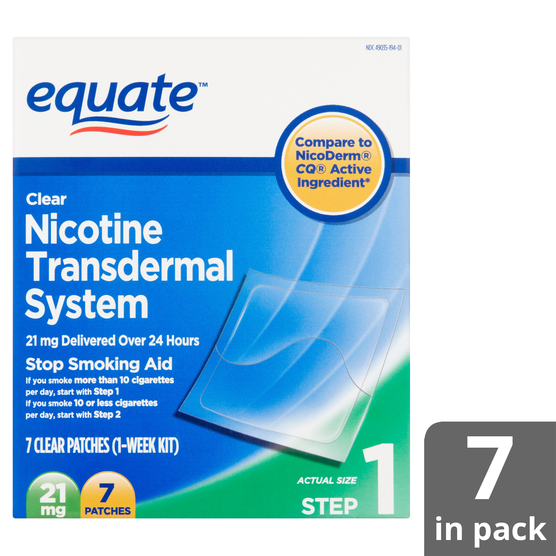 Equate Nicotine Transdermal System Clear Patches, 21 Mg, Step 1, 7 - Free Printable Nicotine Patch Coupons