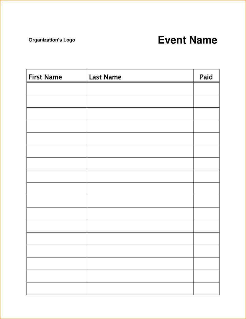 Event Or Class Workshop Forms A Sign Up Sheet Template Word Simple - Free Printable Sign Up Sheet