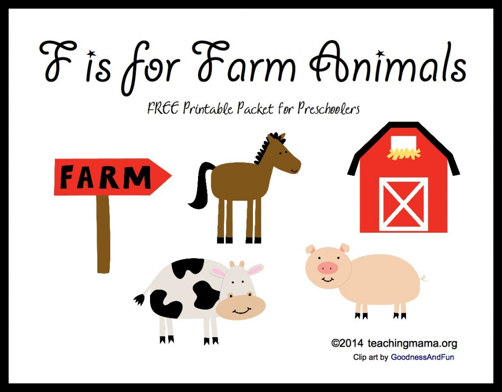 F Is For Farm Animals -- Letter F Printables - Free Printable Farm Animal Pictures