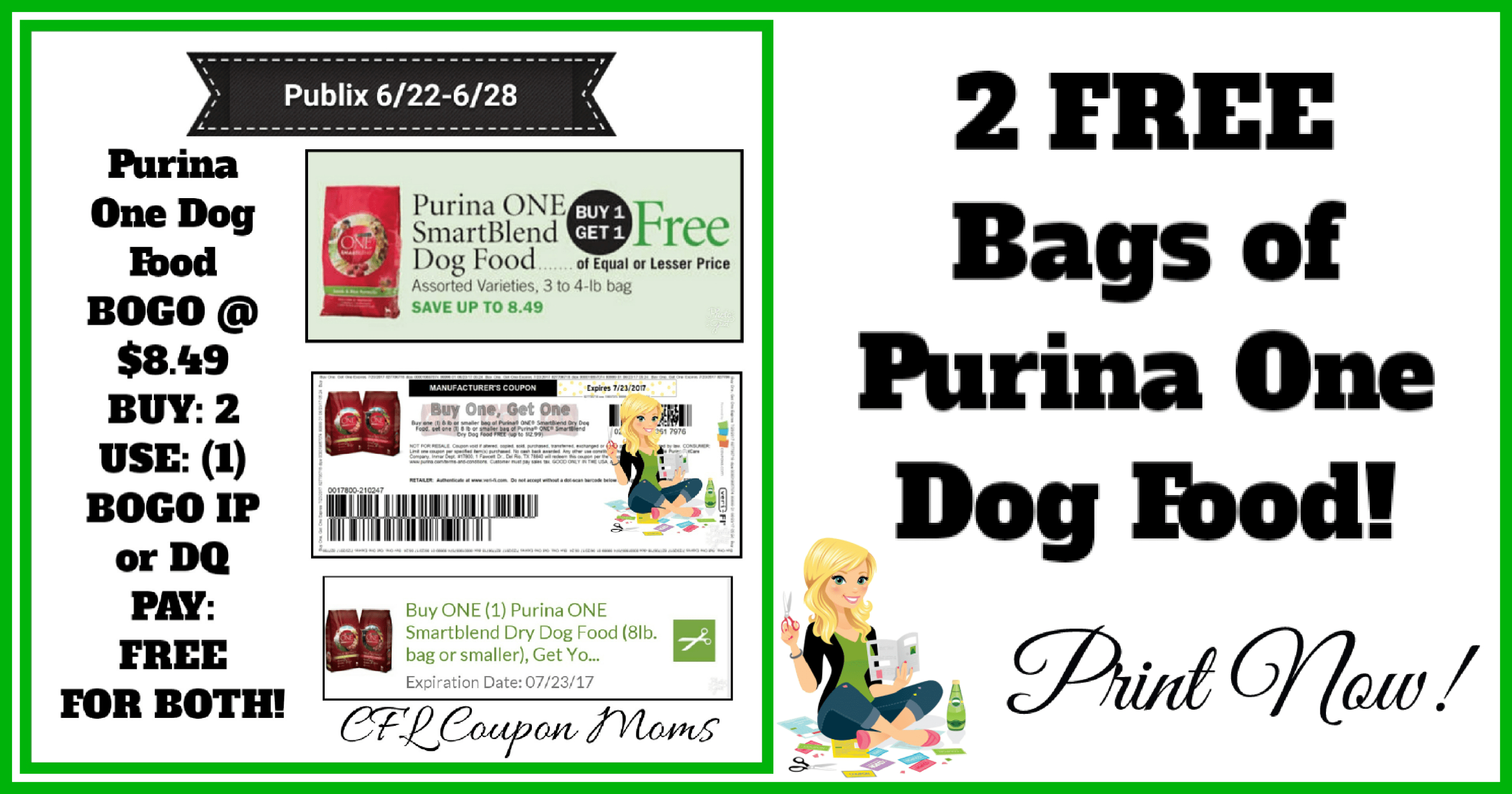 🐕publix🐕 Two (2) Free Bags Of Purina One Dog Food ~ 6/22-6/28 - Free Printable Coupons For Purina One Dog Food