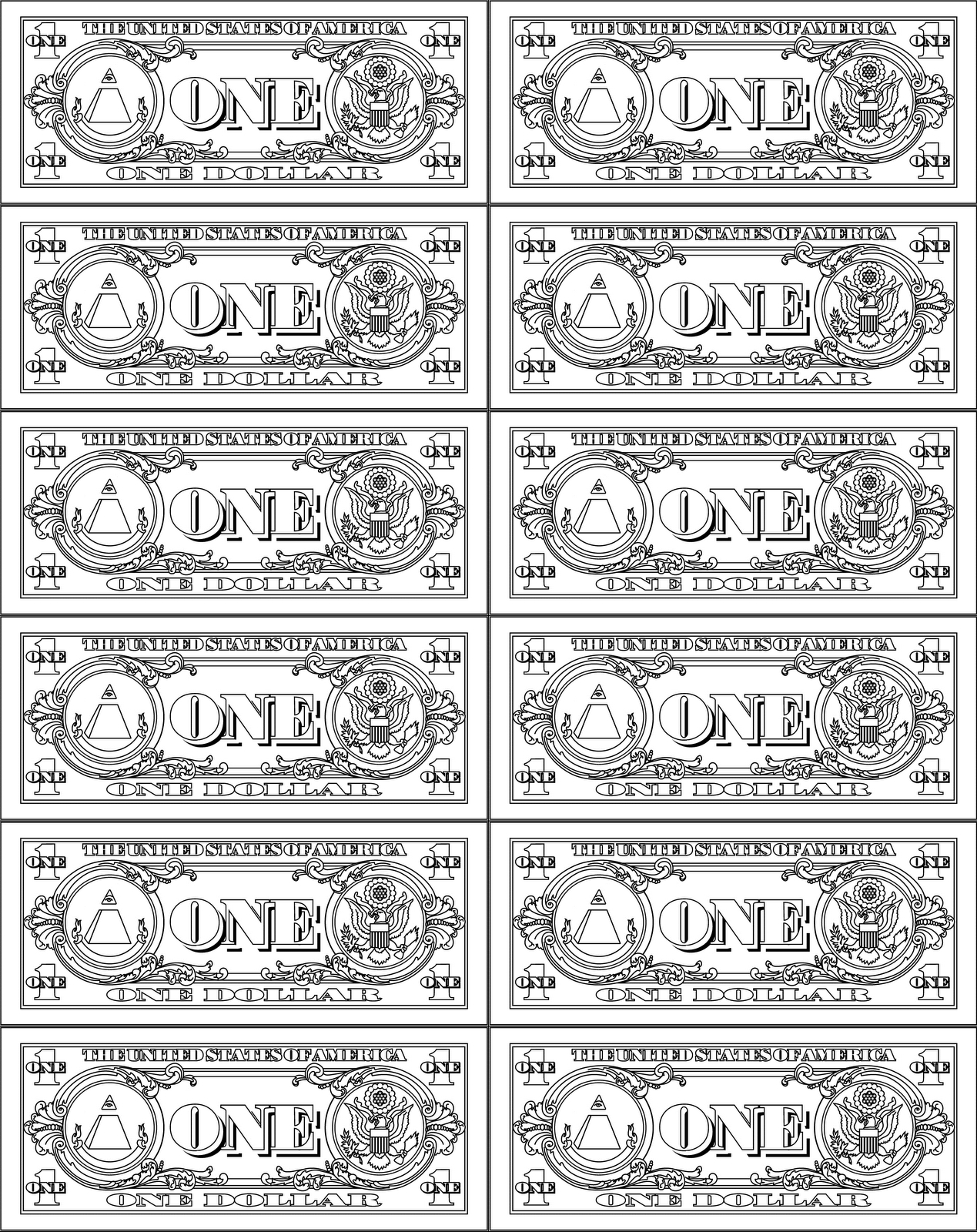 Fake Money Clipart Collection - Free Printable Play Dollar Bills
