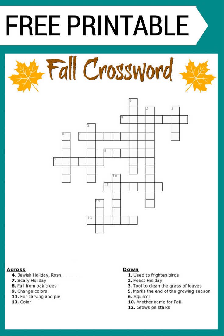 Fall Crossword Puzzle Free Printable Worksheet - Free Printable Crossword Puzzles