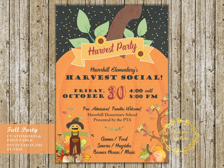 Fall Festival Flyer Invitation Harvest Party Pta Pto School | Etsy - Free Printable Fall Festival Invitations