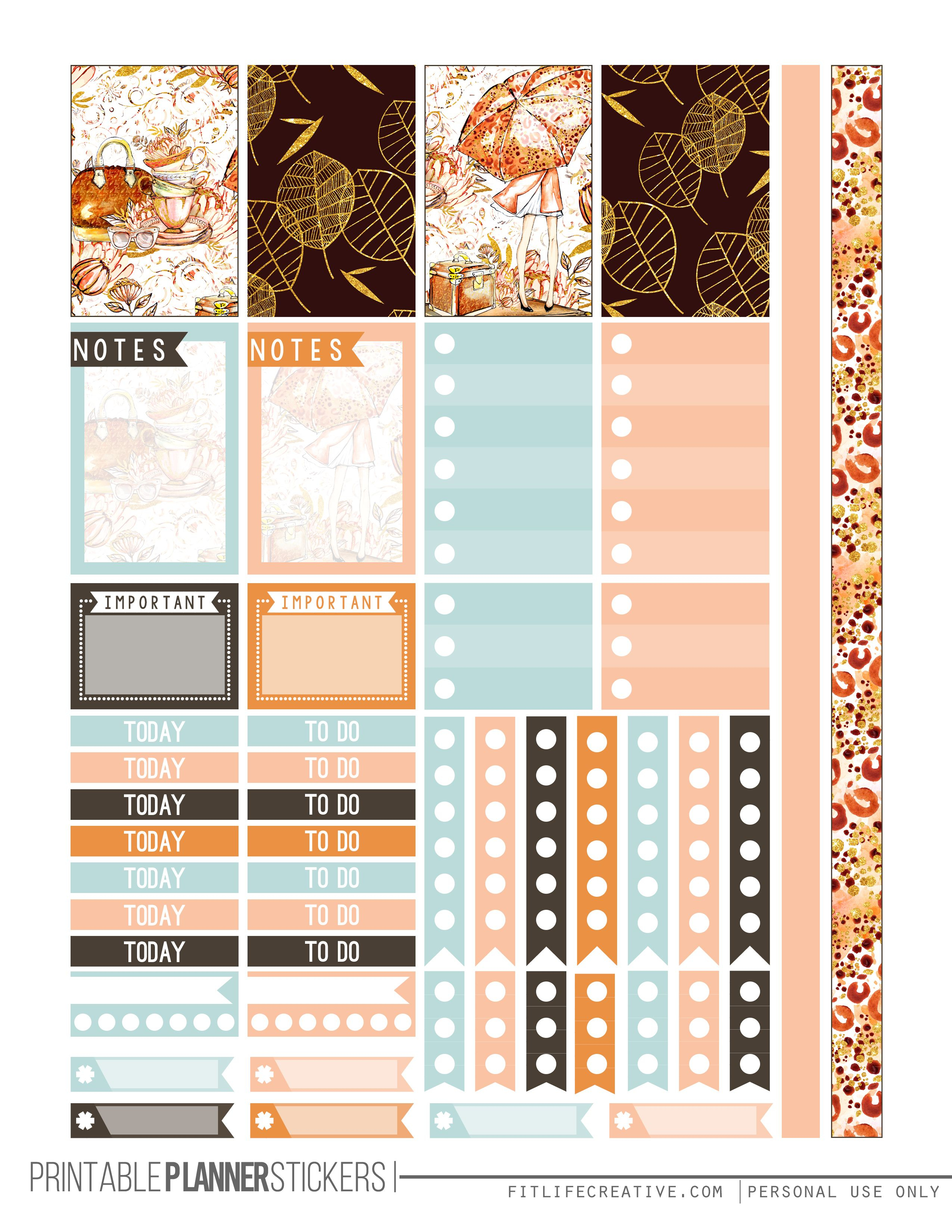 Fall Glam Free Printable Planner Stickers For The Classic Size Happy - Free Printable Happy Planner Stickers