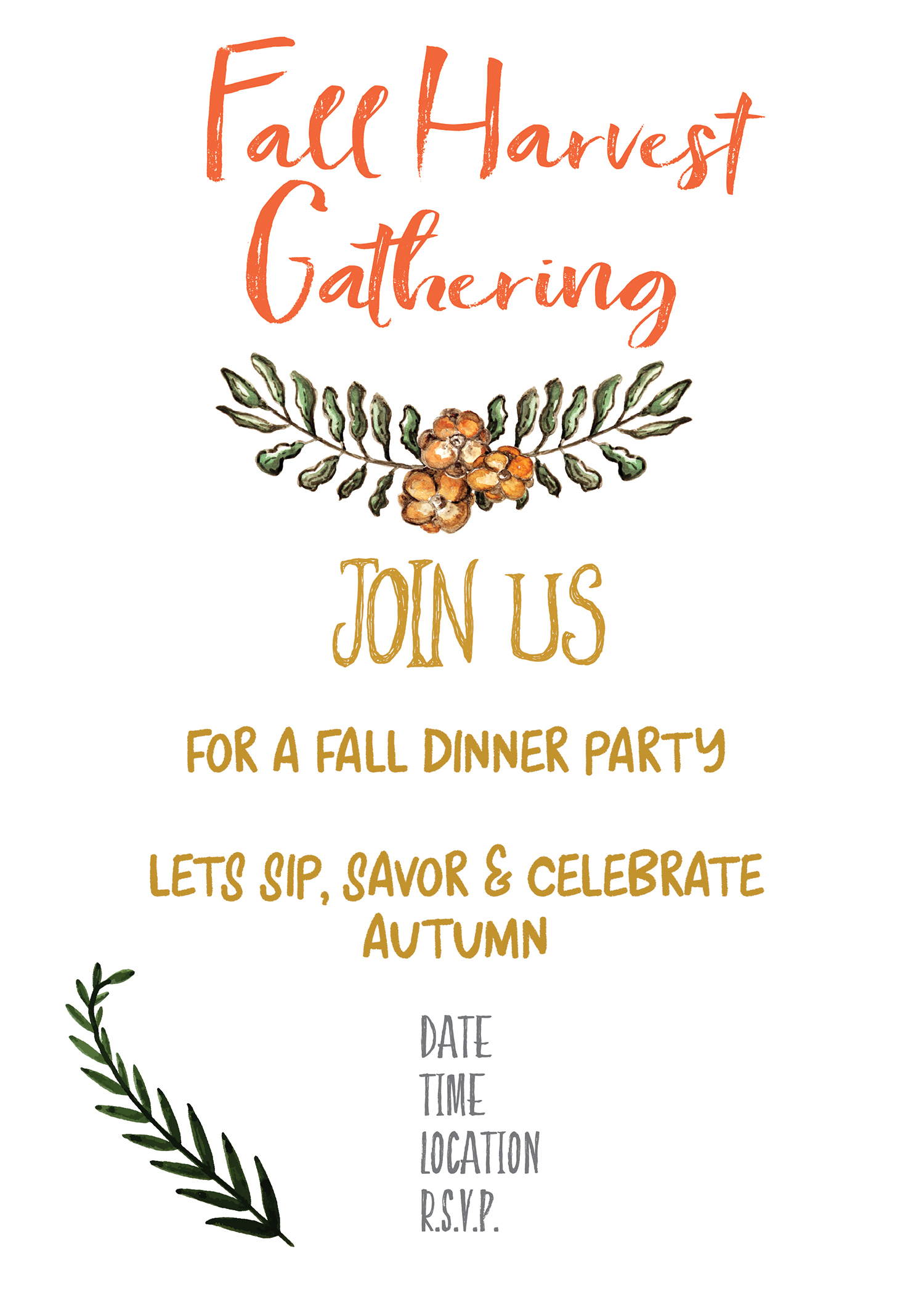 Fall Harvest Party Invitation Printable - Gather For Bread - Free Printable Fall Festival Invitations