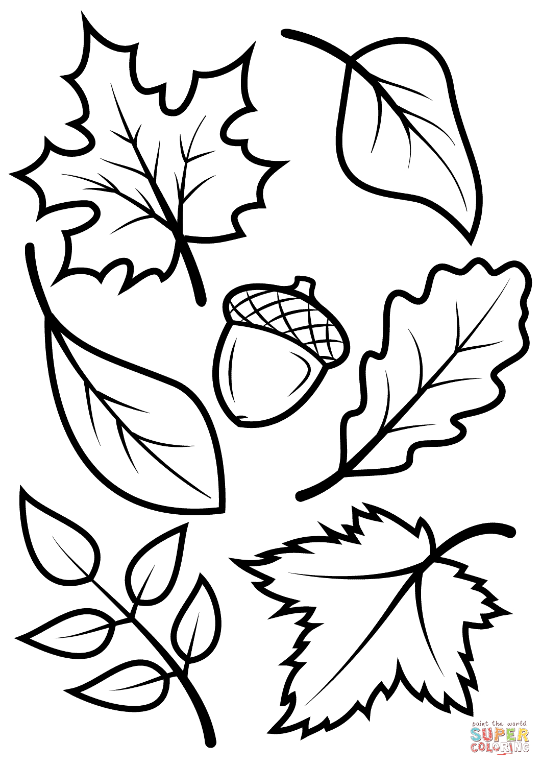 Fall Leaves And Acorn Coloring Page | Free Printable Coloring Pages - Free Printable Autumn Coloring Sheets