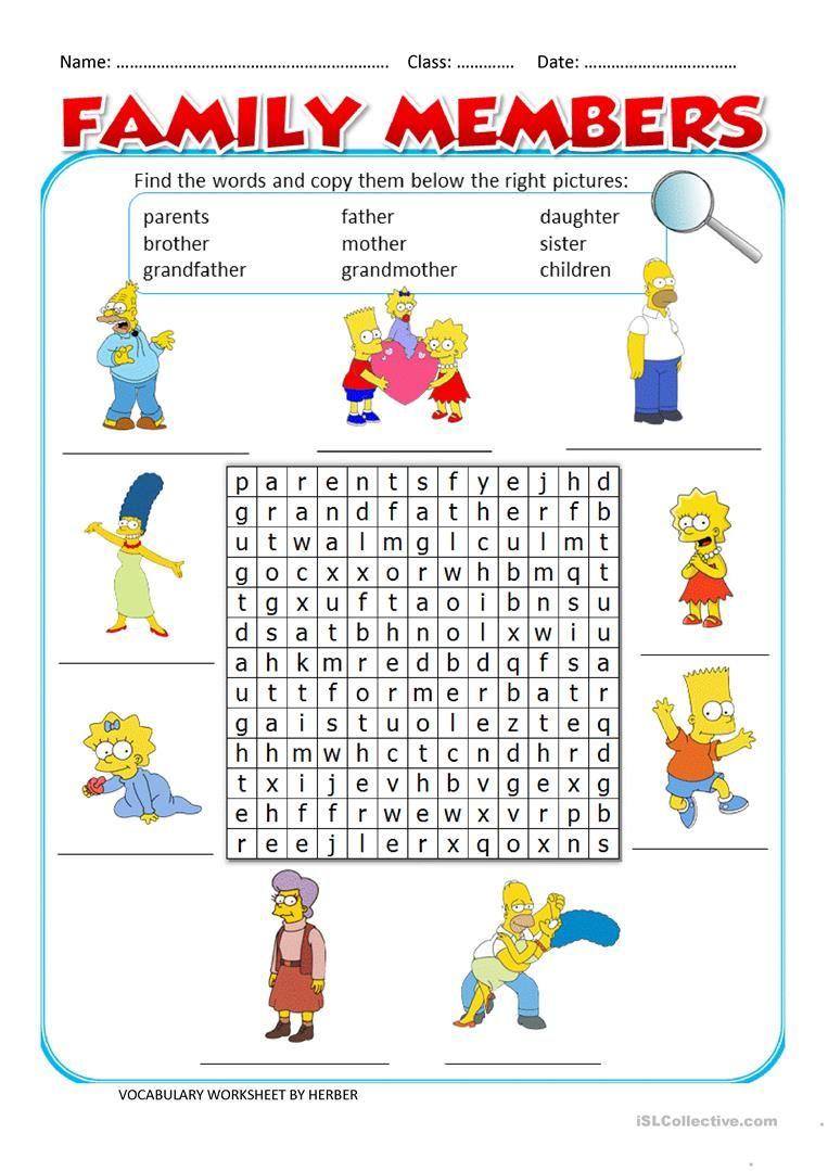 Family Members Ws Worksheet - Free Esl Printable Worksheets Made - Free Printable English Lessons