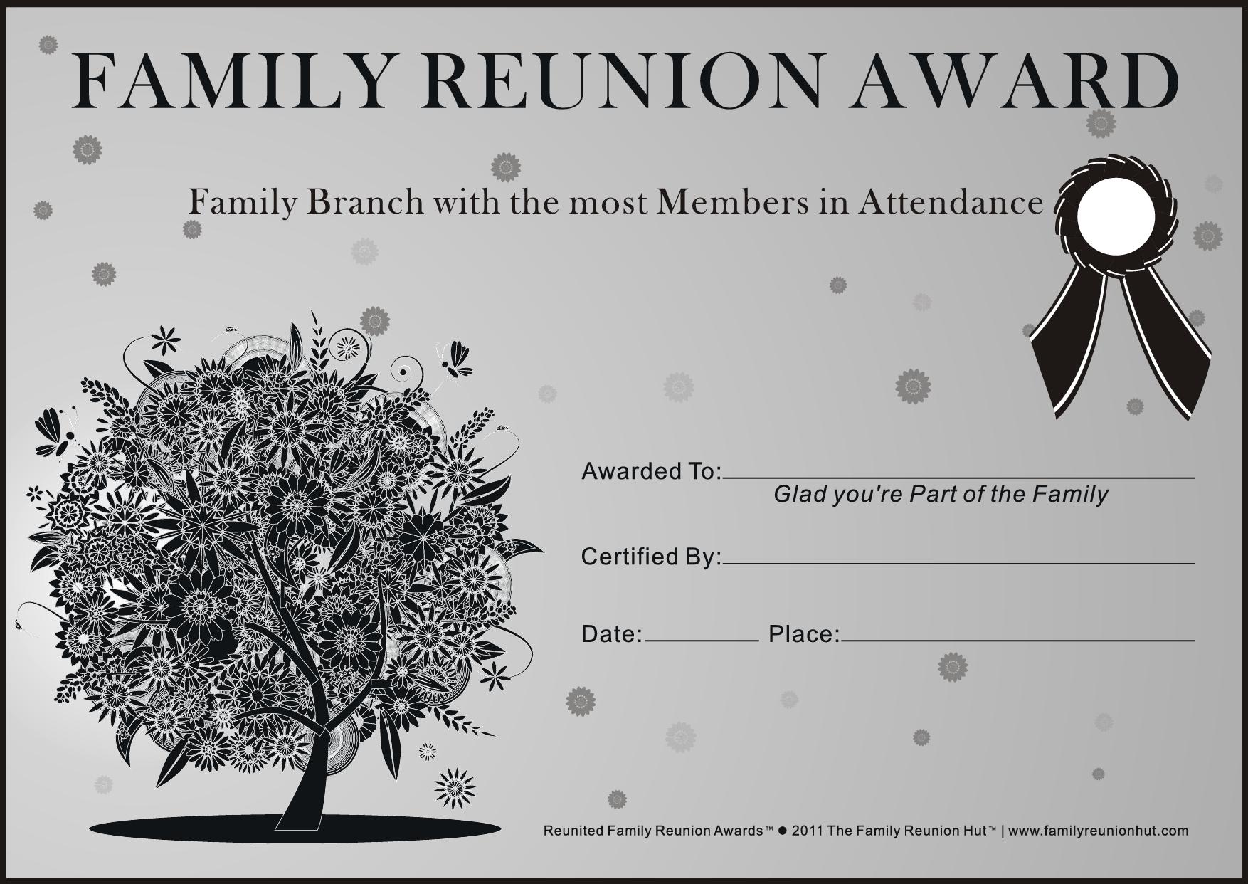 Family Reunion Ideas | Family Reunion Certificates - Oak Passion 2 - Free Printable Family Reunion Awards