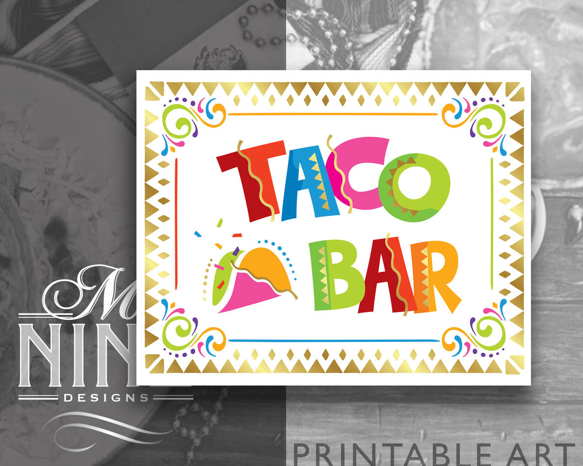 Fiesta Party Sign Printables Taco Bar Sign Downloads | Etsy - Free Printable Taco Bar Signs